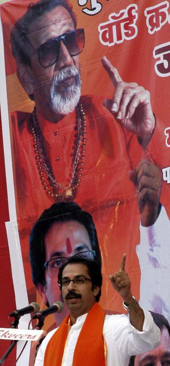 Shiv Sena Working President Uddhav Thackeray addresses a rally