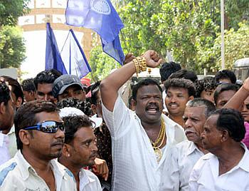 Dalits at a protest rally in Mumbai