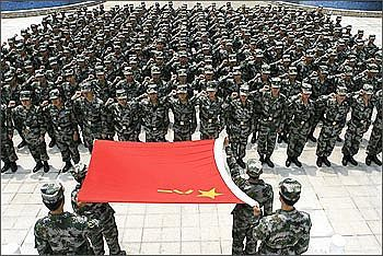 Chinese soldiers at a parade