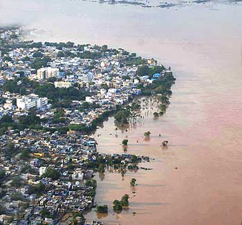 Aerial shot of flood-affected Kurnool district