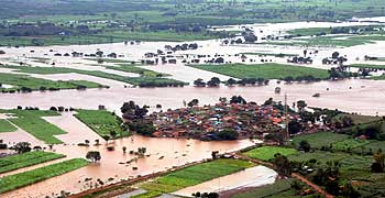An aerial view shows the flood-affected areas of Karnataka