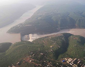 Aerial photograph of the Srisalam Dam