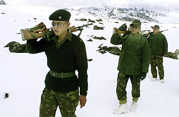 Indian soldiers patrol the border with China in Tawang.