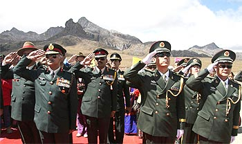 Indian, Chinese troops mark the People's Republic of China's 60th anniversary, in Arunachal Pradesh