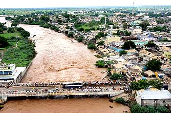 An aerial view of flood affected area at Jevargi in Gulbarga district on Sunday