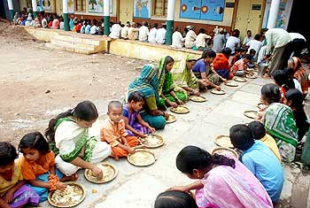 A view of gruel centre for flood victims in Bagalkot on Saturday