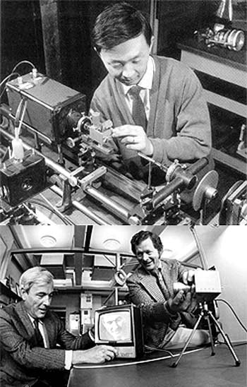 (Top) Charles Kao at work in his laboratory at Harlow, England in 1966. (Bottom) Boyle and Smith