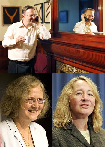 (Top) Jack Szostak, (Bottom Left) Elizabeth Blackburn (Bottom Right) Carol Greider