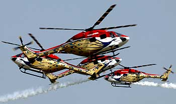 Advanced light helicopters display team Sarang gives a stunning performance