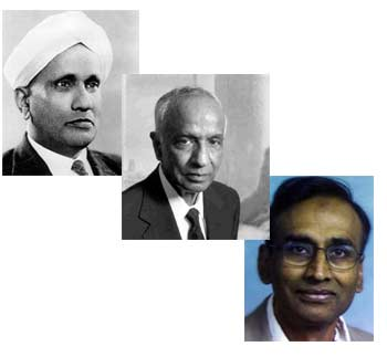 From top: Sir C V Raman, Dr S Chandrasekhar and Dr Venkataraman Ramakrishnan.