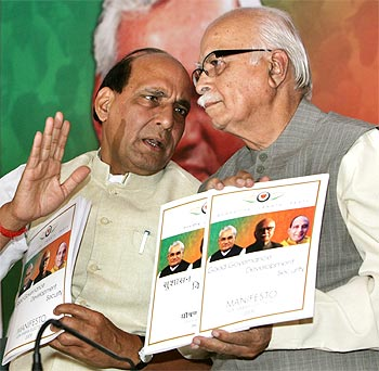 BJP President Rajnath Singh and Leader of the Opposition L K Advani, who is also a senior BJP leader
