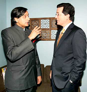 Tharoor with Stephen Colbert