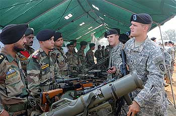 US Army personnel share info on weapons systems at the static display
