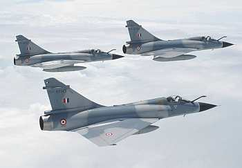 Formation of three Mirage 2000s from Gwalior