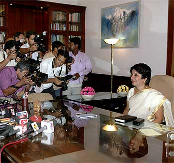 Foreign Secretary Nirupama Rao on her first day in office in New Delhi on August 1