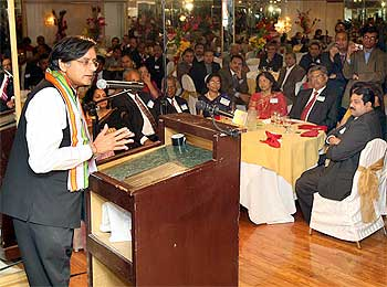 Tharoor speaks at a reception organised by the Malayalee community of the Greater New York area