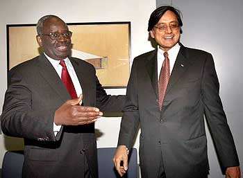 Tharoor with UN Under Secretary General Ibrahim Gambari at the UN