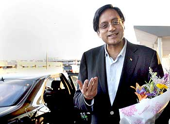 Shashi Tharoor at the JFK airport in New York