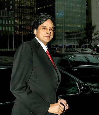 Tharoor outside the United Nations building in New York
