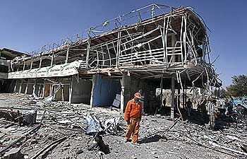 The blast site at Indian embassy in Kabul where a blast killed 17 people on October 8
