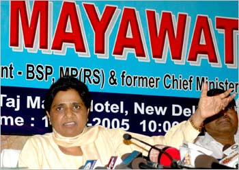 Mayawati at a press conference