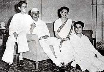 With father Jawaharlal Nehru and sons Rajiv, right, and Sanjay