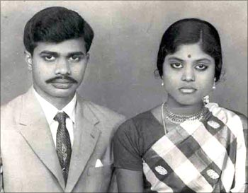 An archival photo of a young YSR with his wife