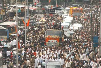 The funeral procession from CM camp office to L B stadium in Hyderabad