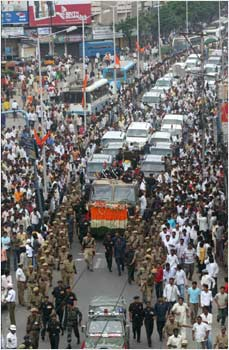 Huge crowds thronged on the way of procession