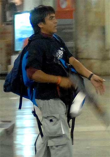 Terrorist Ajmal Kasab at Mumbai's Chhattrapati Shivaji Terminus, November 26, 2008.