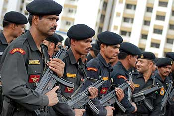 National Security Guards designated for the NSG hub in Mumbai, with their weaponry