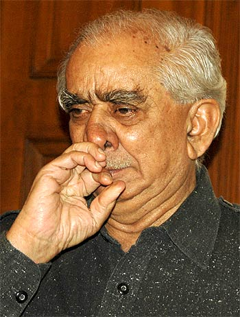 Jaswant Singh at a press conference in New Delhi