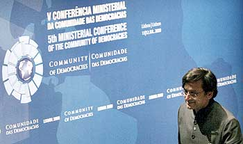 Shashi Tharoor arrives at a conference in Lisbon