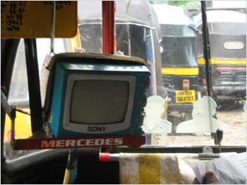 The small television inside the auto