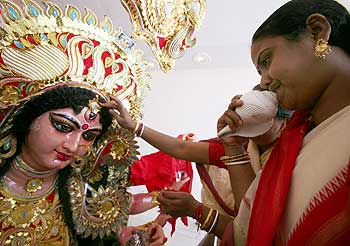 Women at a Durga puja festival in Chandigarh