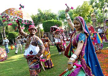 Men and women perform the traditional dance garba in Ahmedabad