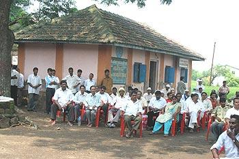 Villagers attend the People's Audit in Div, Raigad