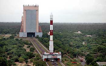 PSLV-C11 on its way to the launchpad