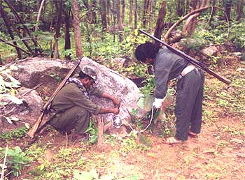 A file photograph shows Maoists training for battle