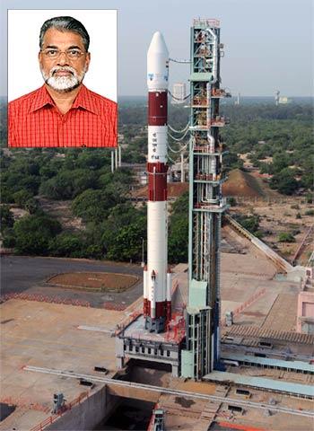The PSLV-C14; inset, Dr K Radhakrishnan