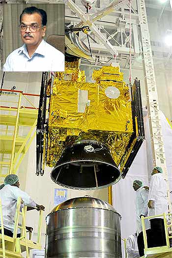 The Oceansat-2 being assembled; inset, T K Alex