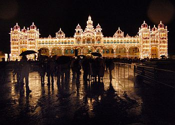 The royal palace is lit up during the 10-day long celebration