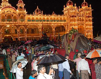 People gather to witness Balram and other elephants in procession