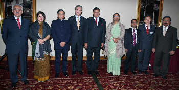 SAARC council of ministers and the SAARC secretary general Silkanta Sharma (extreme right) at the dinner