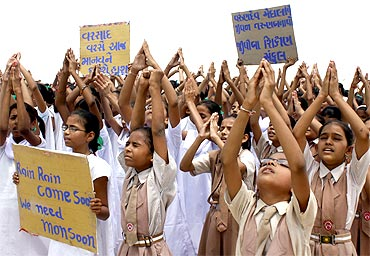 Students pray for rain in Ahmedabad