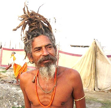 A sadhu on his way to the Akhara Snan