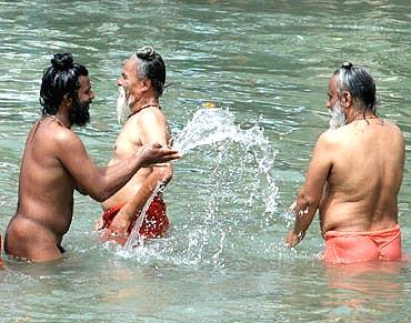 Sadhus participate in the Chaitra Purnima Snan