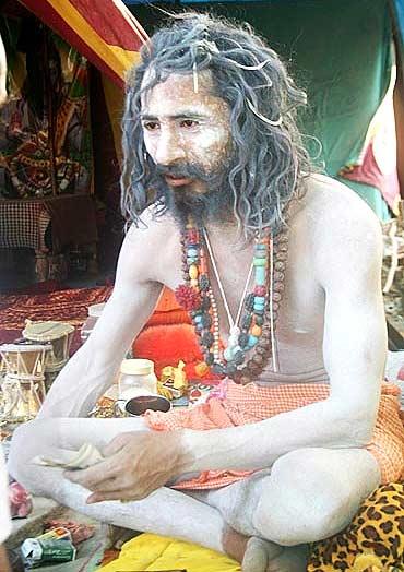 A Naga sadhu at the Kumbh Mela