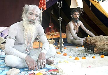 Naga sadhus at the Kumbh Mela