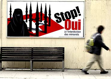 A billboard against the construction of new minarets in Switzerla